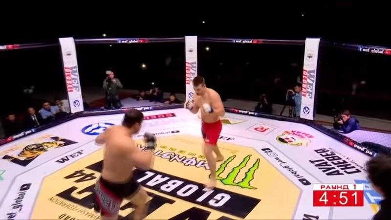 Русский боец за минуту победил непобедимого Мурода Хантураева