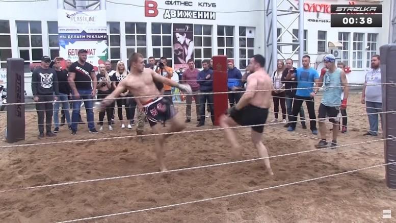 STRELKA Street Fight боец Монах принял бой от огромного спецназовца, итог боя шокирует